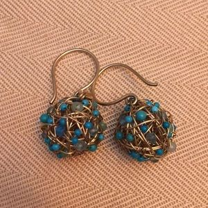 14k gold plated turquoise & crystal beaded earring